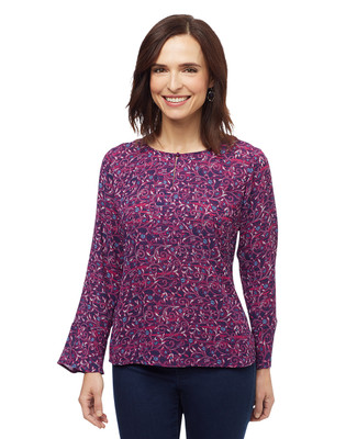 Women's magenta multi colour paisley bell sleeve blouse