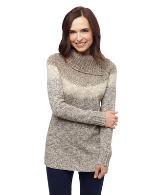 Women's mocha brown ombre cowl neck sweater