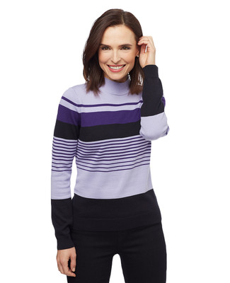 Women's purple, black and lilac striped mock neck sweater