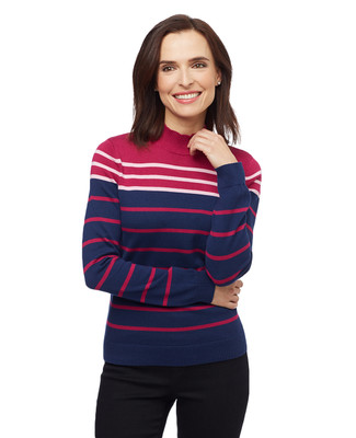 Women's magenta, navy and white striped mock neck sweater