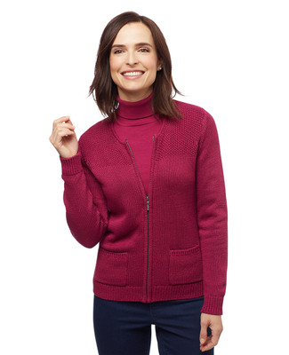 Women's lily yarn zip up cardigan with pockets