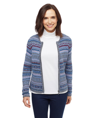 Women's thistle blue multi colour jacquard zip up cardigan