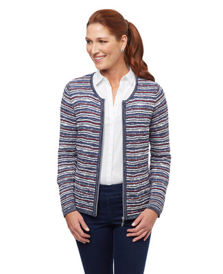 Women's navy blue metallic striped zip up cardigan
