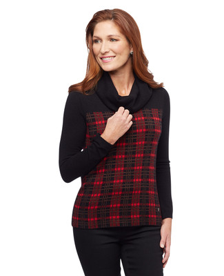 Women's black and red plaid cowl neck sweater