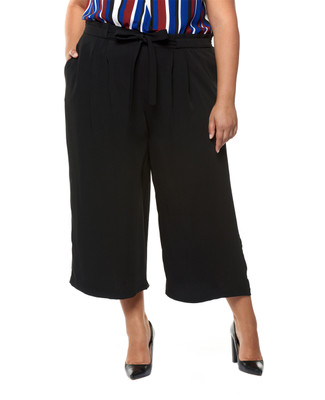 Women's plus size black wide leg palazzo dress pant.