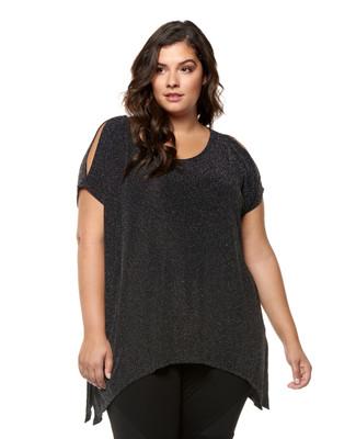 Women's plus size long asymmetrical metallic top.