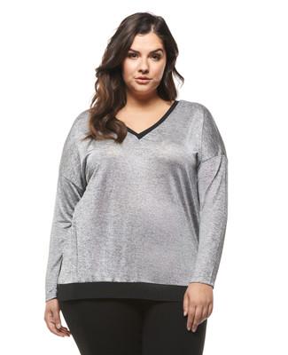 Women's plus size metallic silver top.