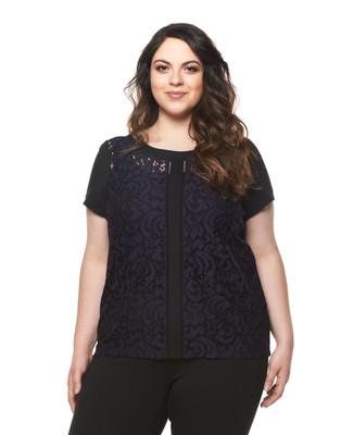 Women's plus size two tone lace dress top.