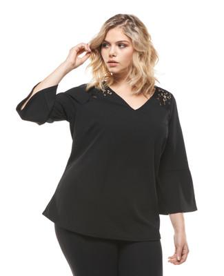 Women's plus size black bell sleeve blouse.