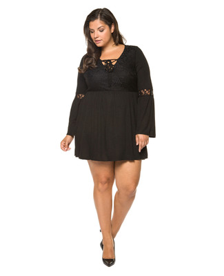 Women's plus size black lace up dress.