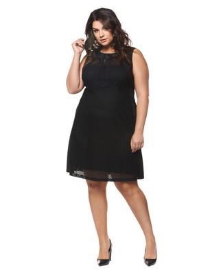 Women's plus size black mesh and lace dress.