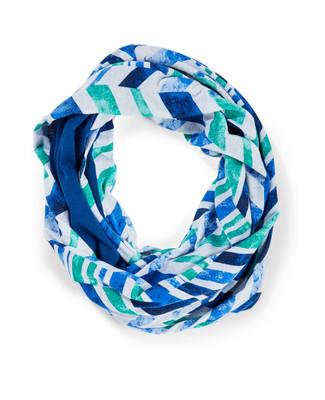 Women's crystal blue geometric print infinity scarf
