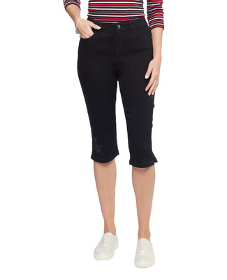 Women's black floral embroidered town Jean capri