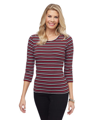 Women's three quarter sleeve stripe cotton tee