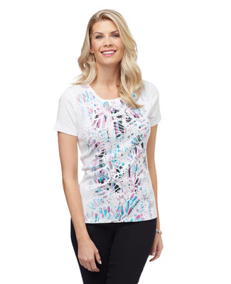 Women's white butterfly wing graphic tee