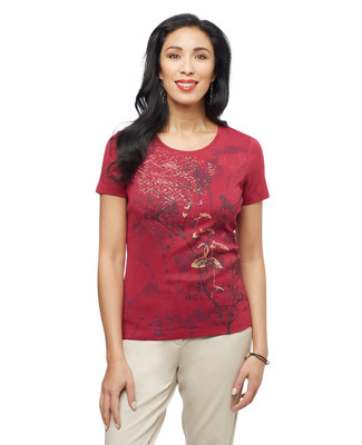 Women's portwine floral graphic tee