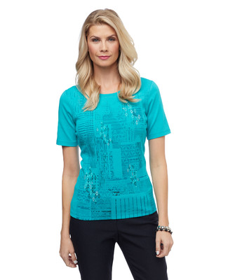 Women's sea green geometric city patchwork graphic tee
