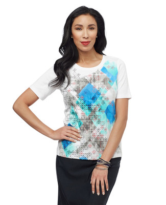 Women's white abstract print short sleeve tee