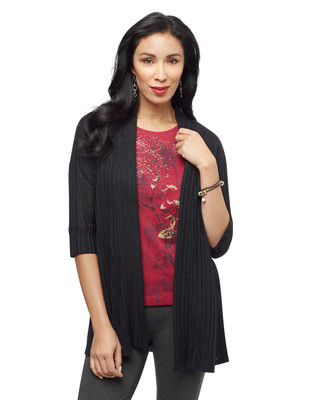 Women's three quarter sleeve textured open front cardigan