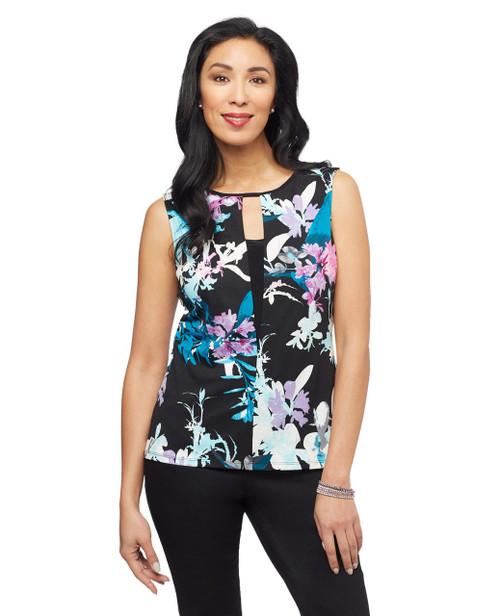 Women's black floral pattern sleeveless top