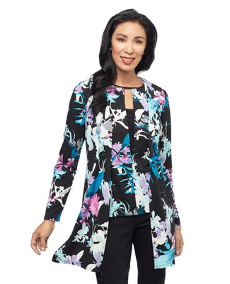 Women's black floral open front topper sweater
