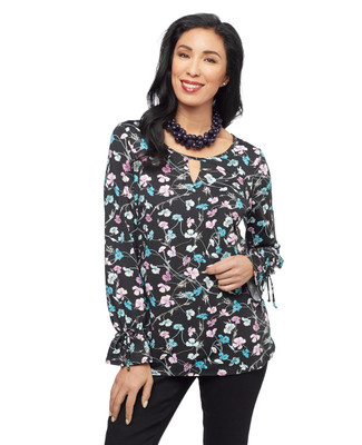 Women's black floral ruffled sleeve blouse