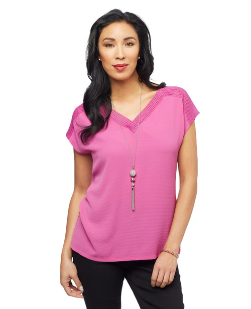 Women's V neck short sleeve shirt with lace trim