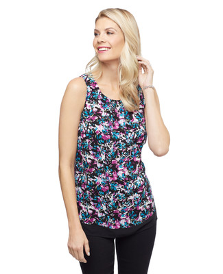 Women's sleeveless floral blouse with round neckline