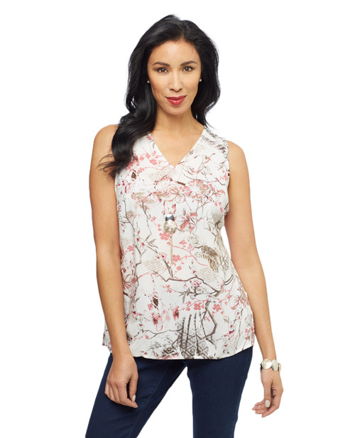 Women's sleeveless V neck ladies tops with multi-coloured floral pattern