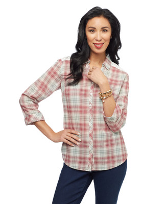 Women's portwine checked yarn dye shirt