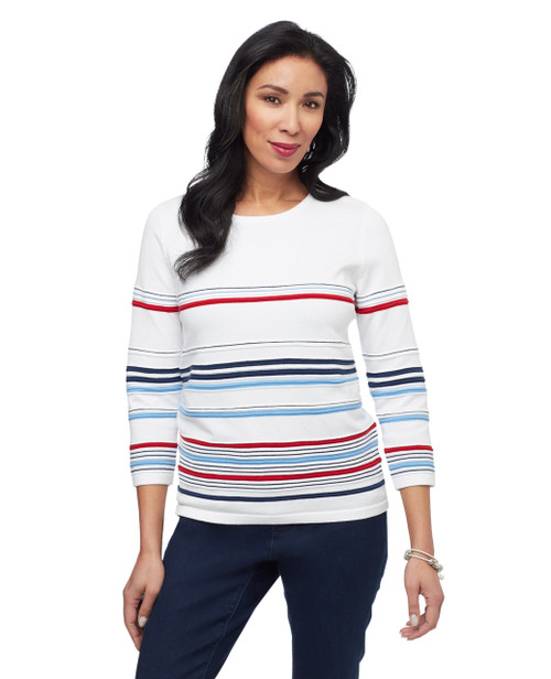 Women's white stripe textured sweater