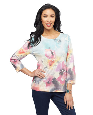 Women's turquoise floral sublimation print pullover sweater