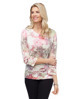 Women's peony floral sublimation print sweater