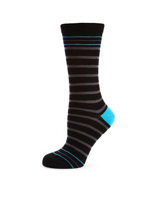 Women's black bamboo socks with stripes