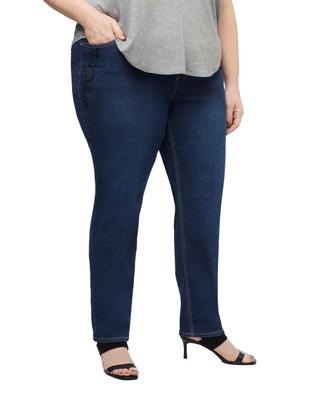 Women's plus dark wash sequined jean