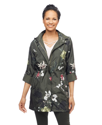 Women's green lightweight floral printed jacket
