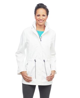 Women's white water resistant windbreaker jacket with contrast zipper