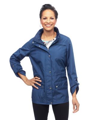 Women's windbreaker jacket with hidden zipper hood
