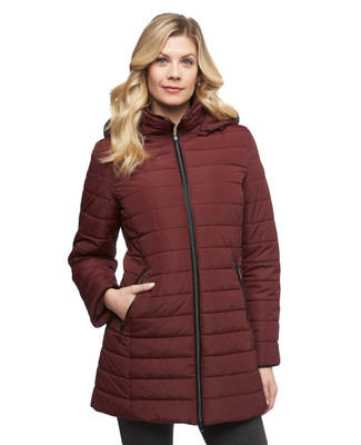 Women's burgundy satin quilted jacket with faux fur trimmed detachable hood