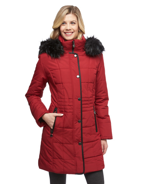 Women's deep cherry quilted coat with faux fur trimmed detachable hood