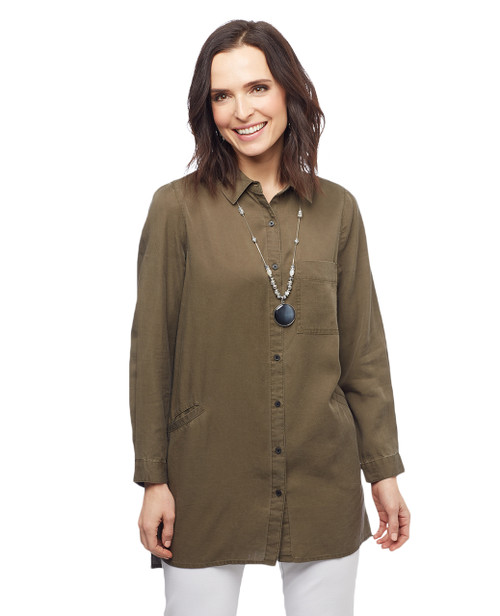 Women's olive long tunic button down shirt with pockets