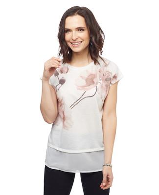 Women's vanilla sleeveless peony floral print blouse