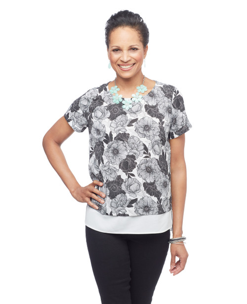 Women's black and white floral peplum blouse