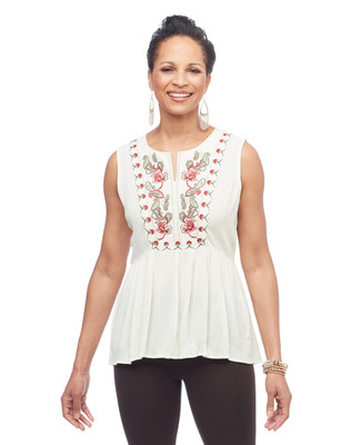 Women's vanilla embroidered empire waist sleeveless blouse