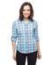 Women's plaid yarn dye button up shirt with roll tab sleeves