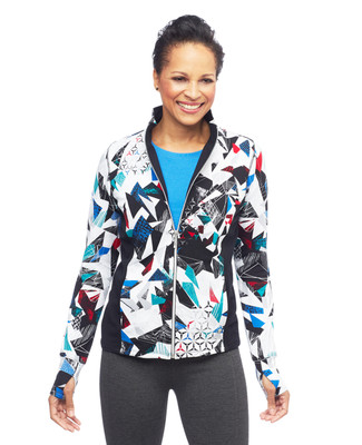 Women's blue zip up activewear jacket