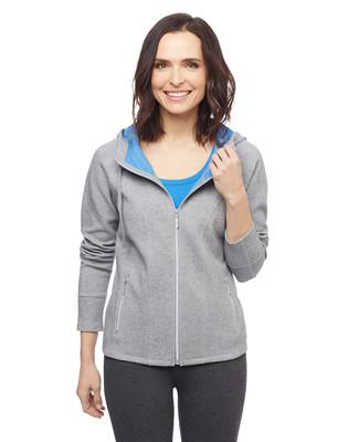 Women's grey raglan activewear hoodie