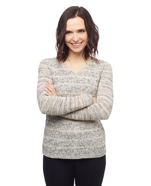 Women's stripe tape yarn pullover