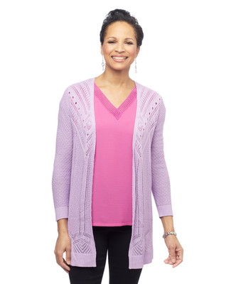 Women's pointelle knit open front topper