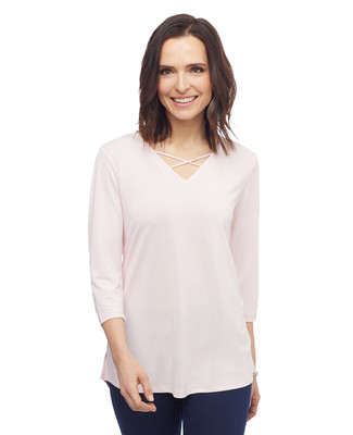 Women's three quarter sleeve criss cross V neck top
